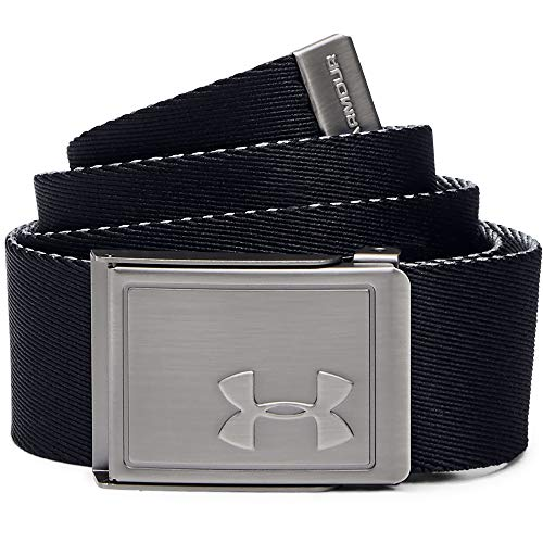 Under Armour Boys' Webbing 2.0 Golf Belt , Black (002)/Zinc Gray , One Size Fits All