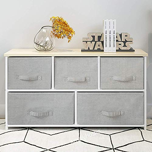 BOJU Large Chest of Drawers Grey Living Room Unit Storage Organizer Cabinet with Drawers Bedside Drawer for Closet Cloth for Kids Bedroom Sidebord with Non-Woven Fabric Baskets(5 Drawers)