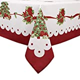 Flyspeed Christmas Floral Print Tablecloth Waterproof Rectangle Holiday Table Cloth for Dinning Room...