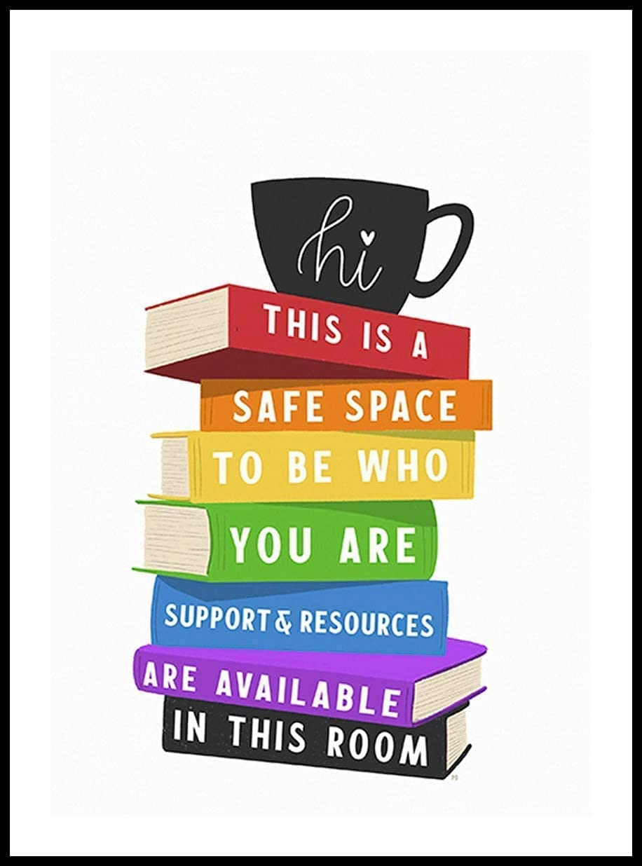 Eeypy Safe Space Wall Art Classroom Decor Metal Tin Sign Poster Wall Plaque