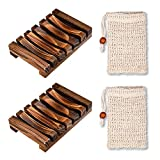 Seifenschale, Chantwon 2 Stück Holz Seifenschale mit 2 Stück Seifensäckchen, Natural Soap Case...