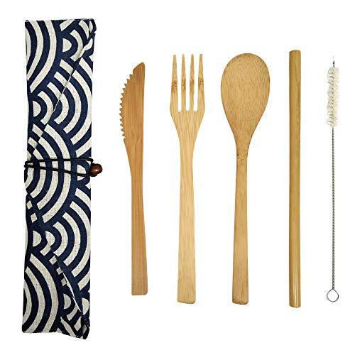HMM Juegos de Cubiertos Reutilizables de bambú Natural, Cuchillo de bambú, Tenedor,...