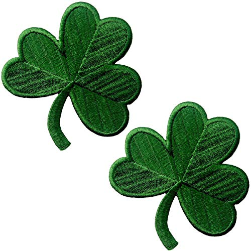 2 Packs Irish Clover Embroidered Patches St. Patrick's Day Clover Sewing on Patches Dark Green Embroidered Emblem Lucky Shamrock Iron Sew on Ireland Patch for Clothes Bag Hat