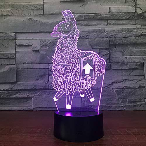 LPHMMD Nacht Licht Alpaca Llama 3D LED Bureau Lamp Modelling Nachtlampje USB Lading Baby Mood Touch Knop Kids Slaapkamer Verlichting Home Gift