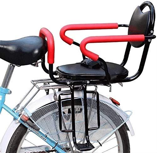 Asiento para Niños con Soporte Trasero para Bicicleta para Adultos, Asiento Trasero para Bicicleta con Soporte para Niños, con Cojín y Respaldo, Pedales/Apoyabrazos y Valla Desmontable, para Niños de