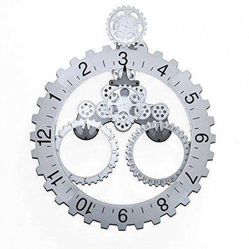 T Tocas 66 x 55cm große mechanische Stil Zahnrad Quarzuhr, Monat/Datum/Stunde Rad Wanduhren (Silber)