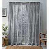 Exclusive Home Curtains Santos Embellished Stripe Sheer Linen Rod Pocket Curtain...