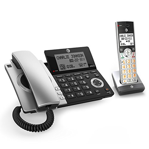 AT&T CL84107 DECT 6.0 Expandable Corded/Cordless Phone with Smart Call Blocker, Black/Silver with 1 Handset