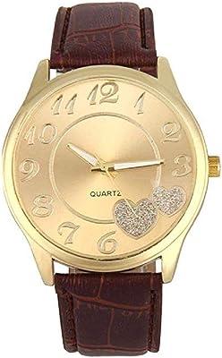 Noopvan Women Leather Band Gold Analog Quartz Round Wrist Watch Watches (Brown