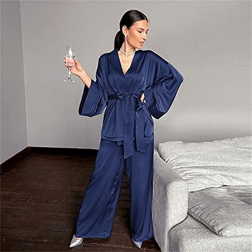 KASLXA Traje de casa para Mujer, Ropa de Dormir, Pantalones Acampanados Sueltos, Conjuntos de Bata de satén de Manga Tres Cuartos, Albornoz para el hogar, Moda-a55-S