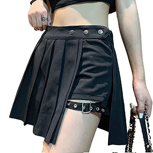 N /C Falda plisada de las mujeres mini faldas de cintura alta de encaje patchwork falda una línea Y2k faldas Harajuku Goth falda