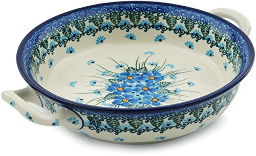 Polish Pottery Round Medium Baker with Handles made by Ceramika Artystyczna (Forget Me Not)