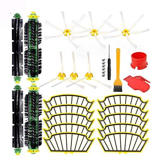 KTZAJO Compatible con IRobot Roomba 500, 527, 528, 530, 532, 535, 540, 562, 570, 572, 580, 581, 590, cepillo lateral + kit de filtro, piezas de repuesto para aspiradora
