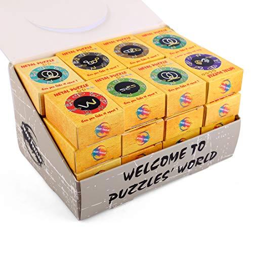 Yvsoo 32er Set Metall Knobelspiele Brainteaser Spielzeug 3D Puzzle Geduldspiele Lernspielzeug Denkspiel als Adventskalender Geburtstag Weihnachten Ideales Geschenk für Erwachsene und Kinder