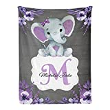 Personalized Baby Blanket, Monogram Purple Floral Elephant Custom Nursery Swadding Blankets 30x40 Inches for Baby Boy Girl with Name Baby Shower Birthday Gift