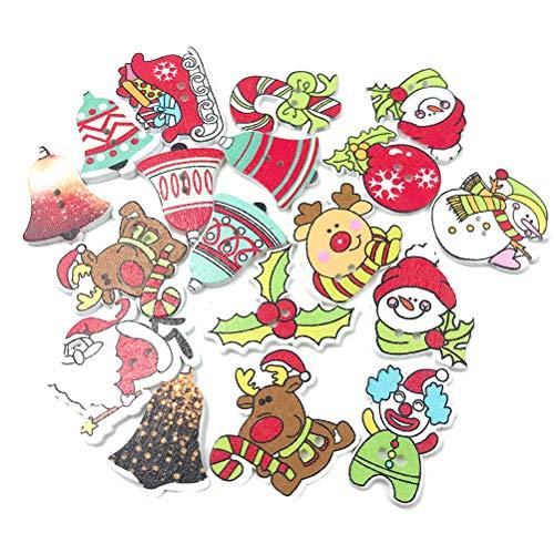 TOYANDONA Navidad Botones De Madera De 2 Agujeros Botones Decorativos De Bricolaje Para Scrapbooking Costura Artesanía 100 Piezas