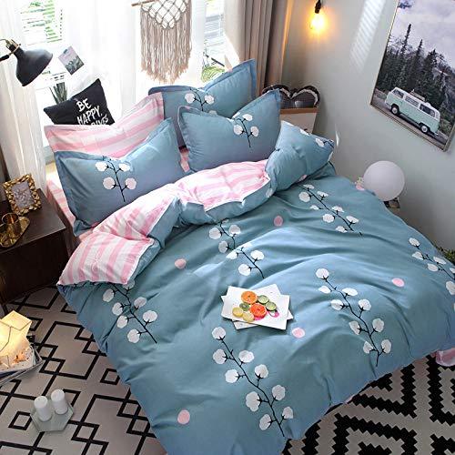 CYGJ Hypoallergenic cotton comfortable four-piece bedding set Kapok-blue Four sets of 1.5m bed