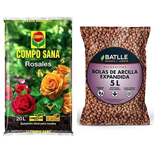 Compo Sana Rosales con 8 semanas de abono, Substrato de Cultivo, 20 L, 56x32x8 cm + Semillas Batlle Sustratos Sustrato Bolas Arcilla Expandida 5l