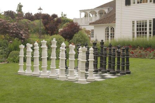 Ubergames 124 cm Garten Schach, Figuren aus langlebigem PVC , für Freiland Garten und Parks