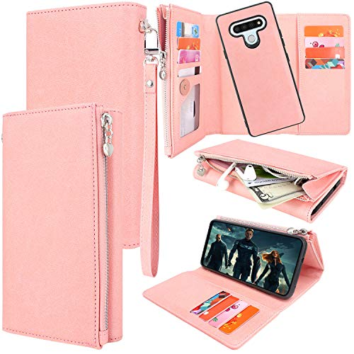 Lacass Magnetic Detachable PU Leather Zipper Wallet Case Cover with Card Slot Wrist Strap for LG Stylo 6 Case (Pink)