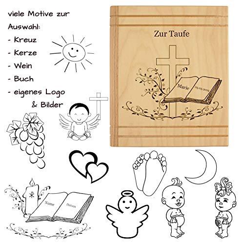 Spardose mit Gravur - als Geschenk zur Taufe, Kommunion, Konfirmation, Firmung - personalisiert mit Name, Datum, Motiv, Sprüchen oder Widmungen