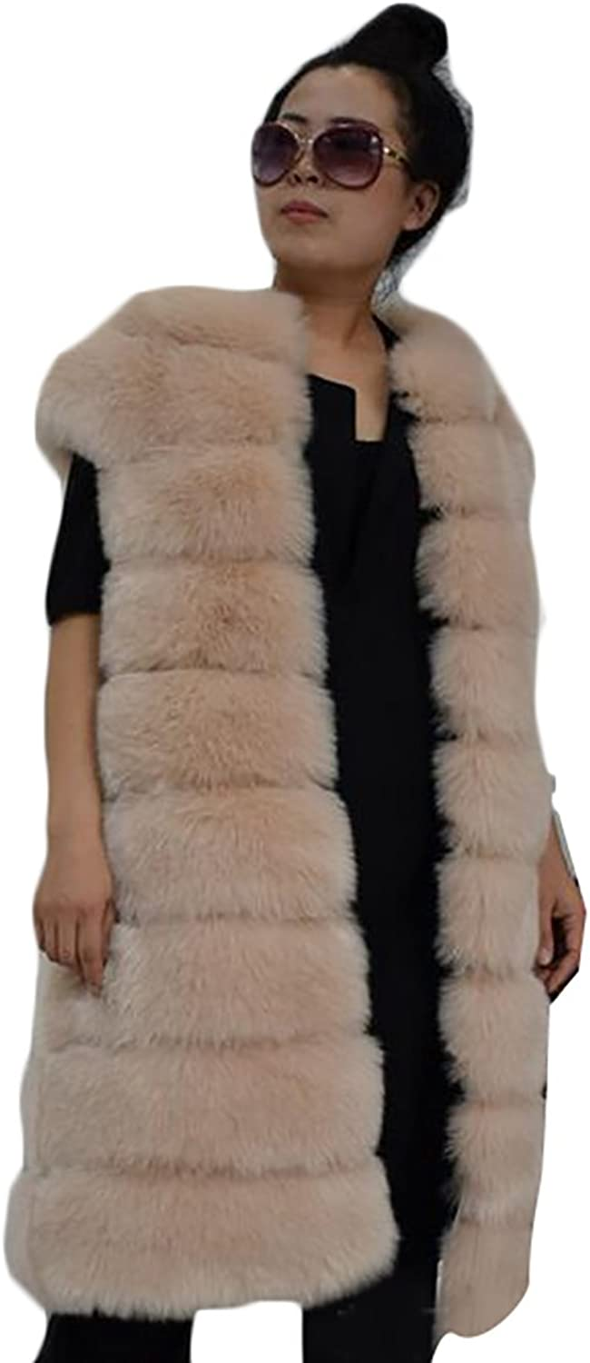 Alion Women's Outwear Long Slim Vest Faux Fox Fur Waistcoat Jacket