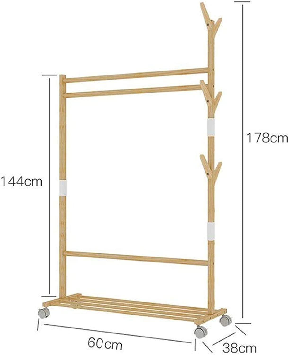 JIAYING Rolling Garment Rack ,Wood Clothes Rack,Freestanding Garment Organizer with 1-Tier Storage Shelves and 4 Coat Hooks for shoes, Clothing,Hat (Size   60×38×178CM)