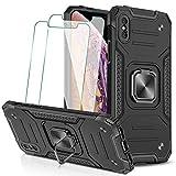 KEEPXYZ Funda para iPhone X/XS + 2 Pcs Protector de Pantalla Cristal Vidrio Templado, Hard PC y Negro Silicona TPU Bumper Antigolpes Case, 360 Grados Anillo iman Soporte para iPhone X XS