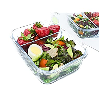 IdealPrep - Glass Meal Prep Container 2-Compartment with Divider and Snap Lock Lid, Leakproof, Airtight, BPA Free, Stain Proof, Microwave and Freezer Safe, 6.3 Cups, Large