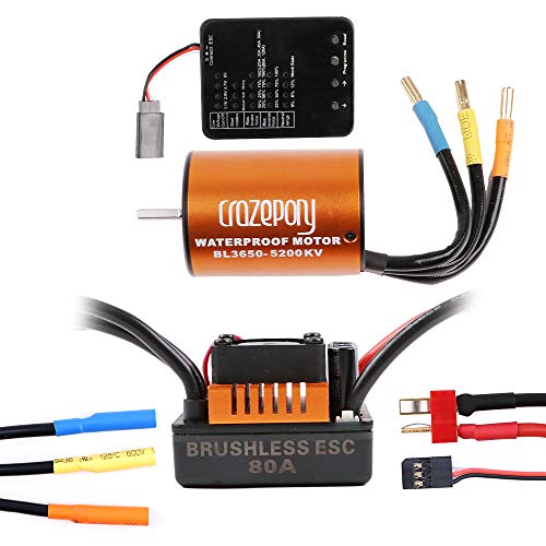 Crazepony-UK B3650 5200KV 4P Sensorless Brushless Motor CNC with 80A ESC Waterproof and Programming Card Combo Set for 1/10 RC Car