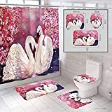 JZDH Duschvorhänge Setzt EIN Paar Rosa Schwan Duschvorhang 4-teilig Set von 3D Digitaldruck Home wasserdichte Duschvorhang Kreative Tier Duschvorhang 180x180cm