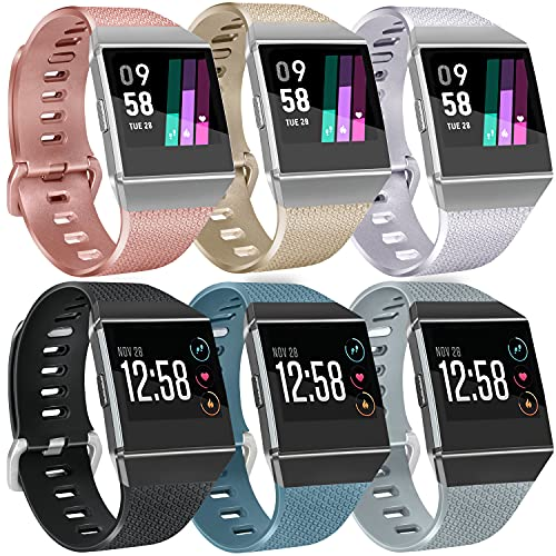 6 Pack Sport Bands Compatible with Fitbit Ionic Bands for Women Men, Replacement Soft Silicone Wristbands Rose Gold, Silver, Gold, Black, Gray, Slate, Small