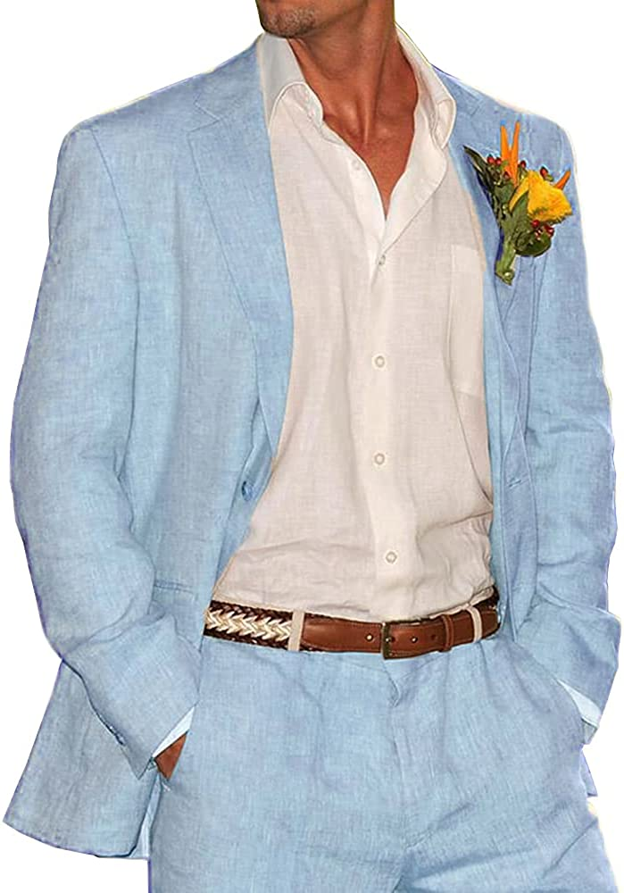 Furuyal Men's Suit Formal Business Suits 2 Pieces Solid Tuxedos for Wedding Groomsmen (Blazer+Pants) Beige New