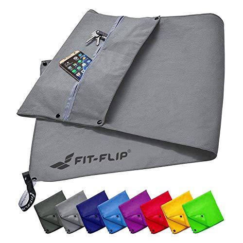 Fit-Flip Fitness Handtuch Set mit Reißverschluss Fach + Magnetclip + extra Sporthandtuch   zum Patent angemeldetes Multifunktionshandtuch, Mikrofaser Handtuch - Grau