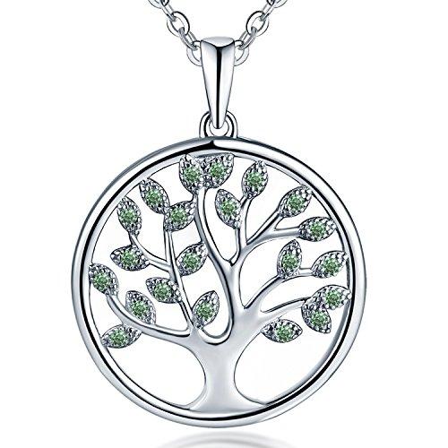 JO WISDOM Collar Colgante Arbol de la vida Plata de ley 925 3A Circonita Mayo piedra de nacimiento Color Esmeralda Mujer Joyería