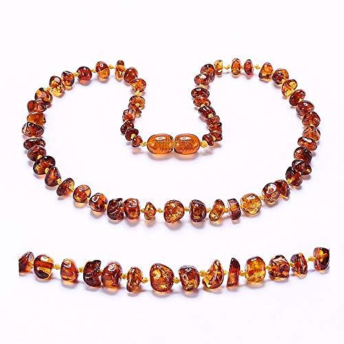 Regalo de la joyería ámbar báltico dentición collar de la pulsera de San Valentín elegante para mujeres Cognac 33 CM