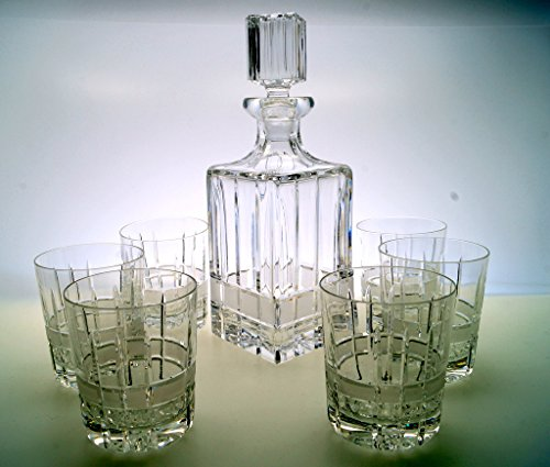 Whisky-Set 6 Whiskygläser + Karaffe Kristallglas Whisky Whiskykaraffe Kristall Bleikristall