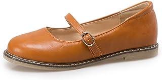 Bonrise Women's Mary Jane Ballet Flat Oxford Shoes Round Toe Slip On Retro Comfortable Dress Loafers Shoes