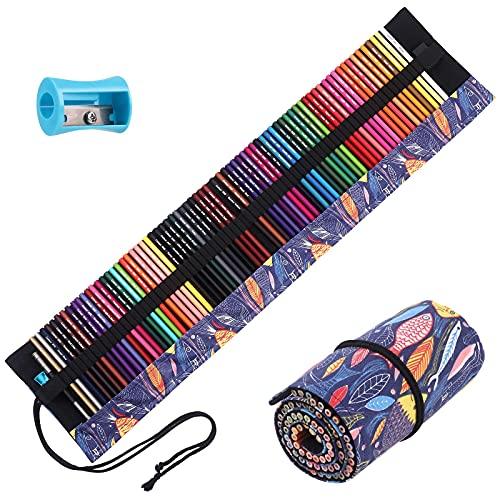 72 예술가 학생 스케치 음영 및 색칠을 위한 샤퍼너와 롤 업 캔버스 백을 이용한 성인 색칠 도서 전문 색칠 세트 아트 색칠 연필용 색연필