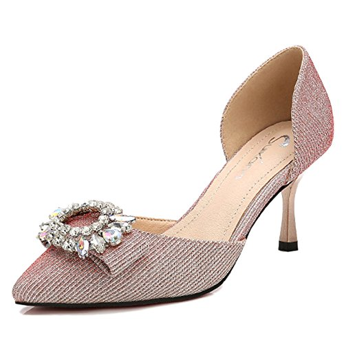 cy Frauen Closed Toe Sandalen Strass Dorsay Pumps Mid Heels Pailletten Hochzeit Court Schuhe Für Damen,Pink-EU:36/UK:4