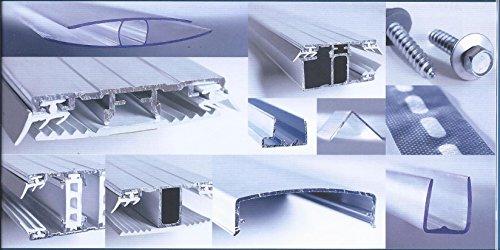 Alu - Stegprofil - Rand - für Doppelstegplatten 16 mm - Breite 60 mm - Alu - Oberprofil mit Dichtungen und TPR - Flachprofilband