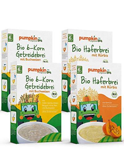 Babybrei Mix 2x2   2x200g Haferbrei & 2x200g 6-Korn Getreidebrei   Pumpkin Organics