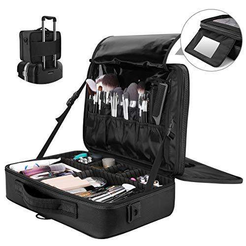 Luxspire Make-up Aufbewahrungsbox, Multifunktion Wasserdicht Kosmetika Etui Oxford Kosmetikbeutel Reißverschluss Schultergurt Verstellbar Aufbewahrungstasche für Damen Maskenbildner - Schwarz