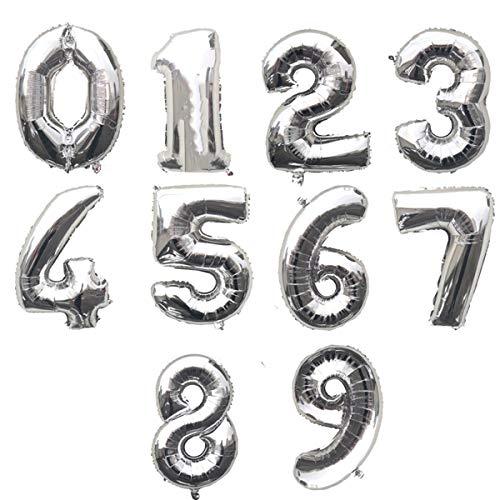 Globo Número Gigante en Metalizado Ideal para Fiesta de cumpleaños y Aniversarios - 110 cm - Hinchable (Plata, Número 1)