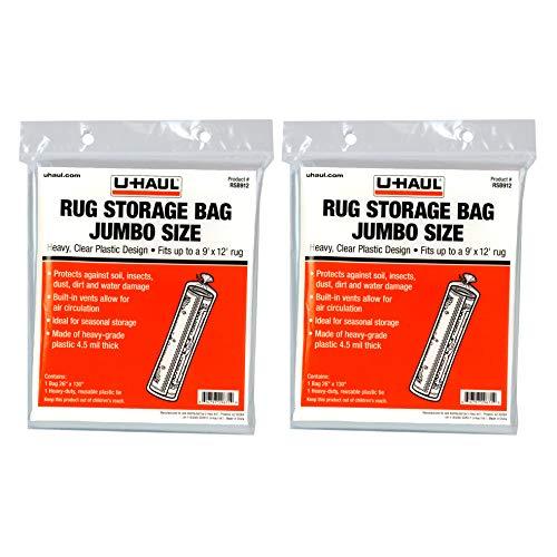 "U-Haul Jumbo Rug Storage Bags - Fit Rugs up to 9' x 12' - 26"" x 130"" Bags - Pack of 2"