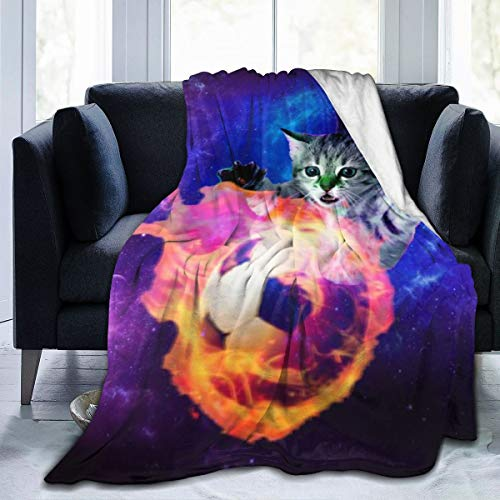 NIUJINMALI Galaxy Cat Catch Fire Football Flannel Blanket All Season Air Conditioner Super Soft Plush Fleece Throw Home Bed Sofa Travel(S 50