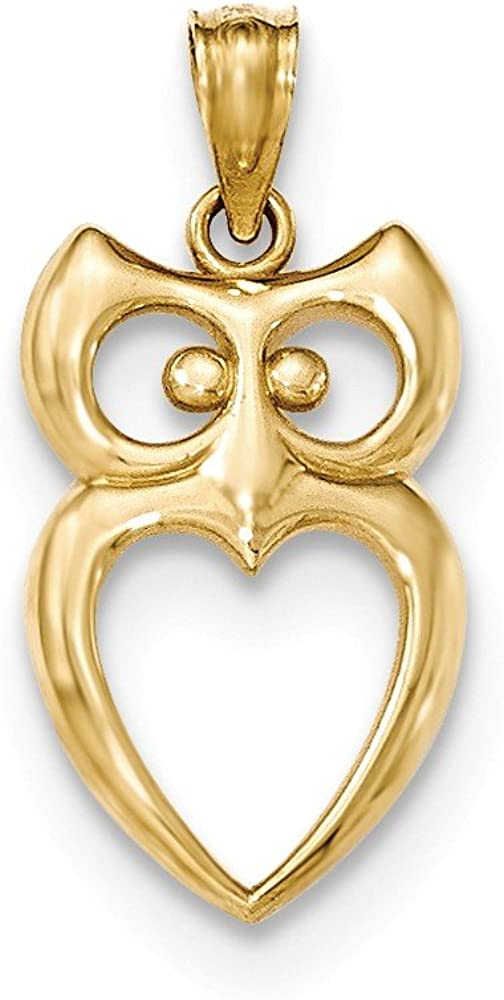 Solid 14k Yellow Gold Price reduction Charm Cut-out Owl Be super welcome Pendant