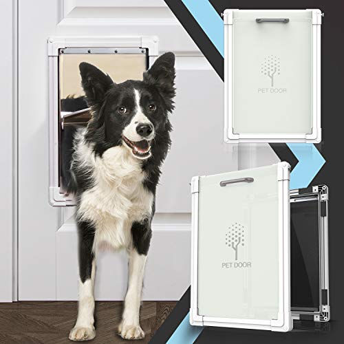 lesotc 2 Ways Locking Dog Door for Exterior Doors,Medium Large Sliding Doggie Door,Metal Training...