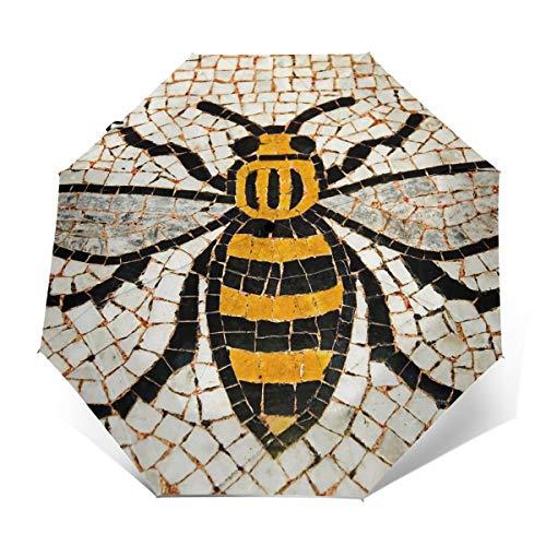 ScDJrock Manchester Bee Modedruck Winddicht Automatik-Dreifachschirm Sonnenschutz UV-Schutz Sonnenschirm Outer Print