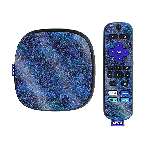 MightySkins Glossy Glitter Skin Compatible with Roku Ultra HDR 4K Streaming Media Player (2020) - Blue Ice   Protective, Durable High-Gloss Glitter Finish   Easy to Apply and Change Styles   Made in
